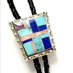 Native American turquoise Bolo Tie Necklace